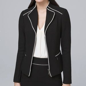 WHBM Contrast Suiting Jacket Blazer Black White